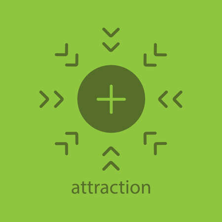 Attraction glyph color icon. Silhouette symbol. Positively charged electron. Negative space. Vector isolated illustration