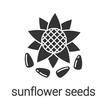 Sunflower seeds glyph icon. Silhouette symbol. Flavoring, seasoning. Negative space. Vector isolated illustration Çizim
