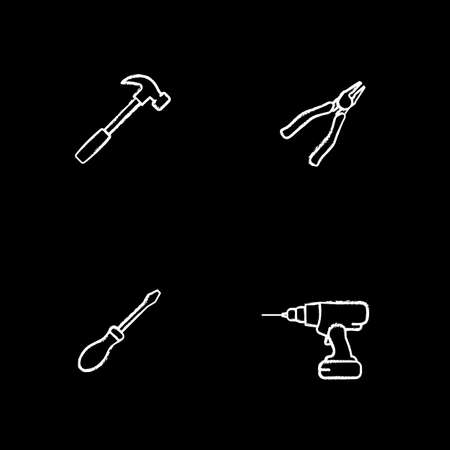 Construction tools chalk icons set. Hammer, nippers, screwdriver, cordless drill. Isolated vector chalkboard illustrations