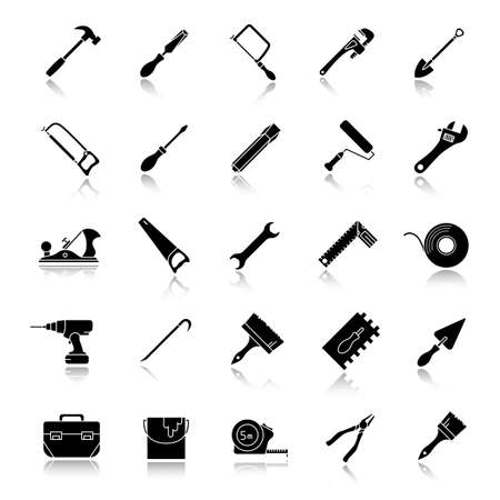 Construction tools drop shadow black glyph icons set. Renovation and repair instruments. Spanner, shovel, hammer, paint brush, crowbar, measuring tape, paint brushes. Isolated vector illustrations