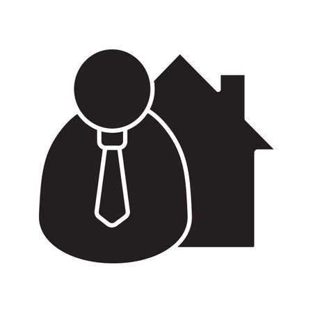 Icona del glifo Broker. Simbolo della sagoma Agente immobiliare. Spazio negativo Illustrazione vettoriale isolato