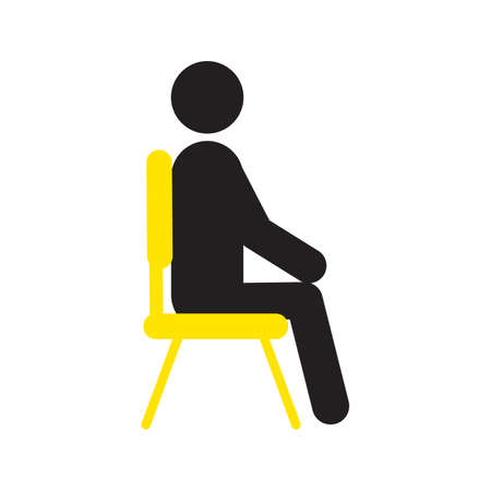 Man sitting on chair silhouette icon. Waiting. Taking rest. Isolated vector illustration
