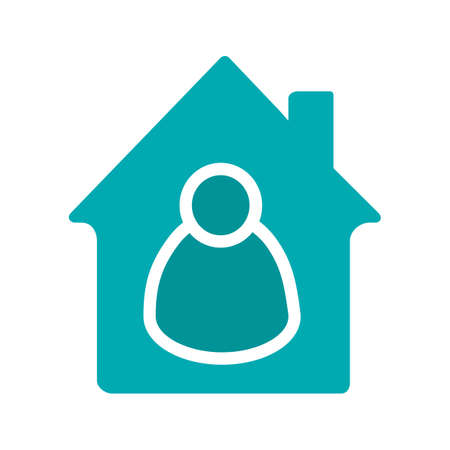 Tenant glyph color icon. Housekeeper. House with person inside. Silhouette symbol on white background. Negative space. Vector illustration