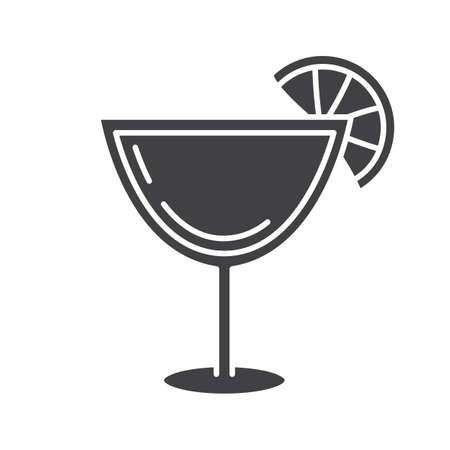 마가리타 칵테일 글리프 아이콘입니다. 실루엣 기호입니다.