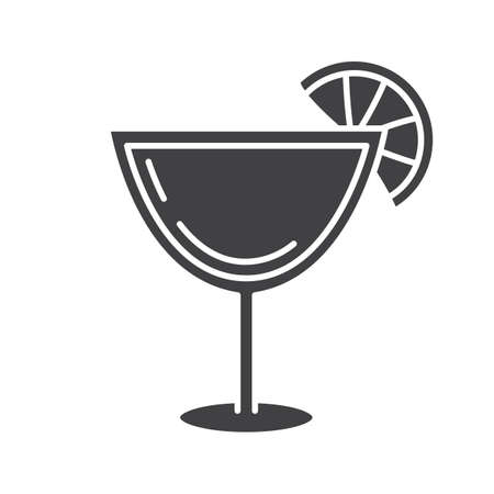 Margarita cocktail glyph icon. Silhouette symbol. 向量圖像