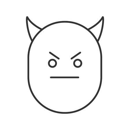 Devil smile linear icon. Thin line illustration. Evil face with horns. Bad mood contour symbol. Vector isolated outline drawing Illusztráció