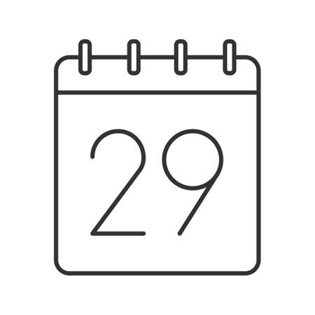 Twenty ninth day of month linear icon. Wall calendar with 29 sign. Thin line illustration. Date contour symbol. Vector isolated outline drawing
