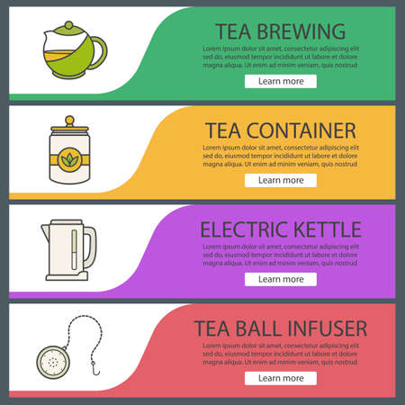 Tea web banner templates set. Electric kettle, container, teapot, ball infuser. Website color menu items. Vector headers design concepts Illustration
