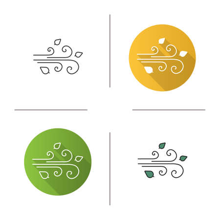 Wind blowing icon. Flat design, linear and color styles. Windy weather. Isolated vector illustrations Illustration