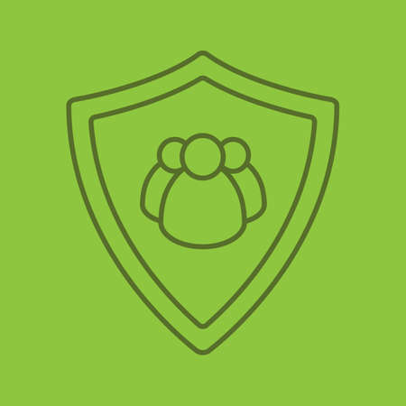 Users protection linear icon. Collective security. Protection shield with group of people. Thin line outline symbols on color background. Vector illustration Illustration