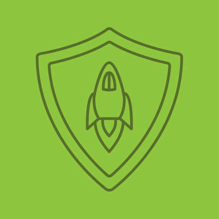 Startup projects protection linear icon. Security shield with spaceship. Thin line outline symbols on color background. Vector illustration