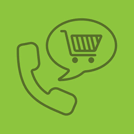 Goods phone order linear icon. Shopping by phone. Handset with shopping cart inside speech bubble. Supermarket products delivery. Thin line outline symbols on color background. Vector illustration