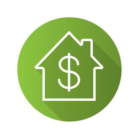 Icona piana piana di ombra lunga di acquisto di proprietà. Mercato immobiliare. Casa con il simbolo del dollaro all'interno. Casa in vendita. Simbolo di struttura vettoriale Vettoriali