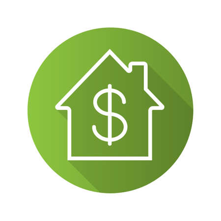 Property purchase flat linear long shadow icon. Real estate market. Home with dollar sign inside. House for sale. Vector outline symbol