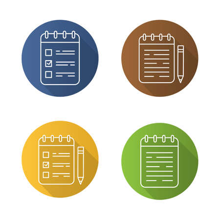 scheduler: Notepads flat linear long shadow icons set. Notebooks and to do lists with pencils. Vector outline illustration Illustration