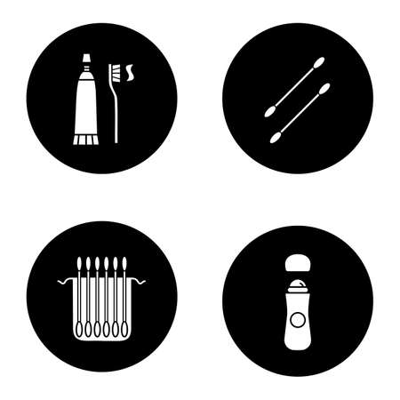 ear bud: Hygienic products glyph icons set. Earsticks package, toothpaste with brush, roll antiperspirant. Vector white silhouettes illustrations in black circles
