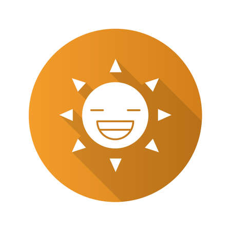 Laughing sun smile flat design long shadow glyph icon. Good mood. Happy sun face with broad smile and closed eyes. Vector silhouette illustration Illustration
