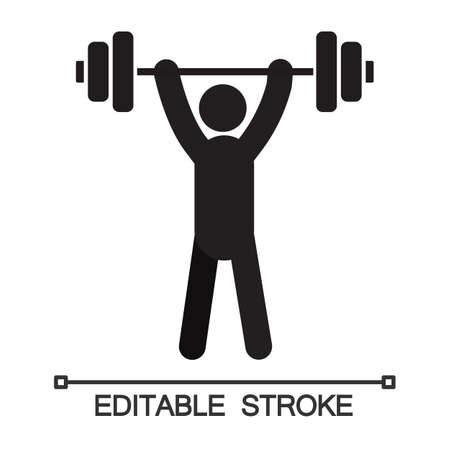 Man with barbell silhouette. Powerlifting, weightlifting. Sport training. Isolated vector illustration. Gym Illustration