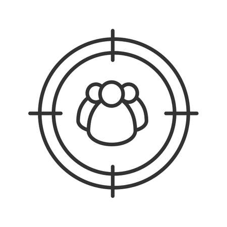 Aim on group of people linear icon. Searching groups, users and organisations. Thin line illustration. Customers, clients finding contour symbol. Vector isolated outline drawing