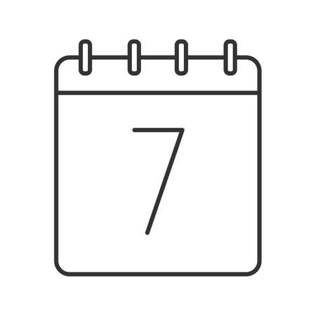 Seventh day of month linear icon. Thin line illustration. Wall calendar with 7 sign. Date contour symbol. Vector isolated outline drawing