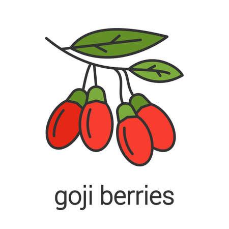 Goji berries color icon. Flavoring, seasoning. Goji tree branch. Isolated vector illustration 일러스트