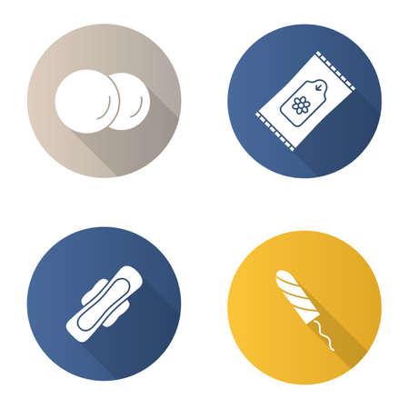 フラットのバスアメニティはデザイン長い影グリフ アイコン セットです。女性の衛生製品。コットン パッド、衛生タンポン羽つきタオル ウェット