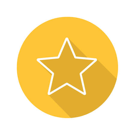 Star mark flat linear long shadow icon. Add to favorite digital sign. Vector outline symbol Illustration