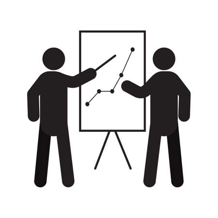 Sales analysis silhouette. Presentation, conference, report. Business plan, strategy. Isolated vector illustration