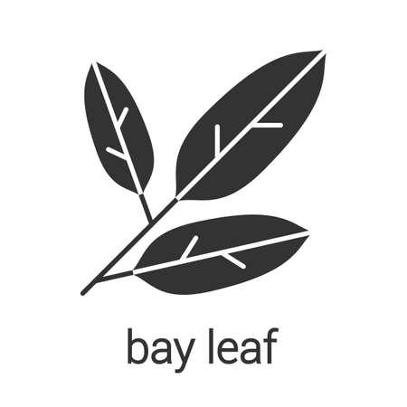 베이 글리프 아이콘을 나뭇잎. 실루엣 기호입니다. 향료, 조미료. 부정적인 공간. 벡터 격리 된 그림 일러스트