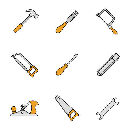 Construction tools color icons set. Hammer, chisels, hacksaw, fretsaw, hand saw, jack plane, screwdriver, wrench. Isolated vector illustrations Illustration