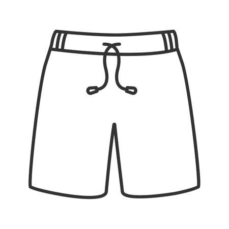 Swimming trunks linear icon. Thin line illustration. Sport shorts. Contour symbol. Vector isolated outline drawing