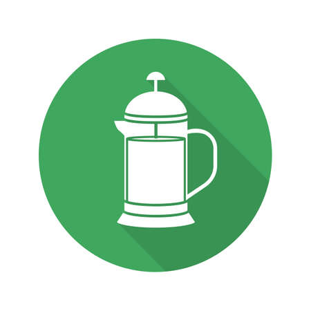 French press flat design long shadow glyph icon. Brewing tea pot. Vector silhouette symbol