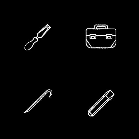 Construction tools chalk icons set. Chisels, tool box, crowbar. Isolated vector chalkboard illustrations Illustration
