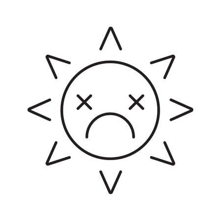 Dead sun smile linear icon. Tired, depressed smiley face thin line illustration. Bad mood. Global warming concept. Emoticon contour symbol. Vector isolated outline drawing Illustration