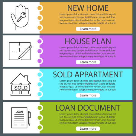 real estate sold: Real estate web banner templates set. Hand with key, floor plan, sold house, loan agreement. Website color menu items with linear icons. Vector headers design concepts