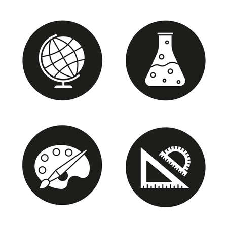 School And Education Glyph Icons Set Geography Chemistry Art