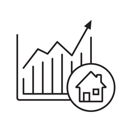 Real estate market growth chart linear icon. Thin line illustration. Houses price rise. Contour symbol. Vector isolated outline drawing Vektorové ilustrace