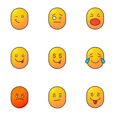 Smileys jeu d'icônes de couleur. Bonne et mauvaise humeur. Des émoticônes clairs, confus, choqués, délicieux, gourmands, rieurs, fâchés et ennuyés. Illustrations vectorielles isolées