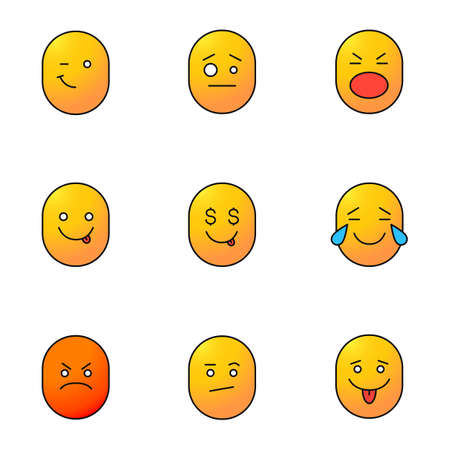 Smileys color icons set. Good and bad mood. Winking, confused, shocked, yummy, greedy, laughing, angry, bored emoticons. Isolated vector illustrations