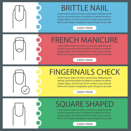 Manicure web banner templates set. Cracked and square shaped nails, french manicure, fingernails check. Website color menu items with linear icons. Vector headers design concepts