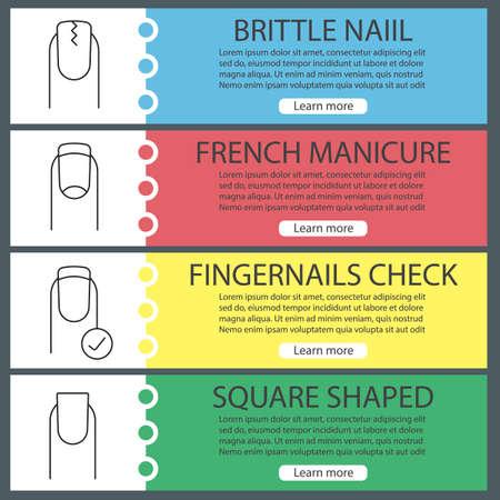 Maniküre Web Banner Vorlagen festgelegt. Gebrochene und quadratische Nägel, French Manicure, Fingernägel-Check. Website-Farbmenüelemente mit linearen Symbolen. Vektor-Header-Design-Konzepte