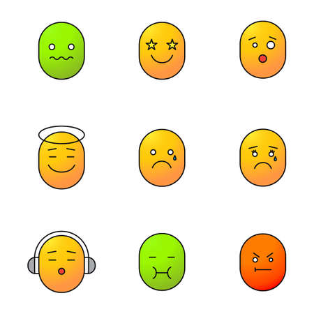 Smileys color icons set. Good and bad mood. Confused, excited, teary, vomiting, angry, shocked, listening to music emoticons. Isolated vector illustrations