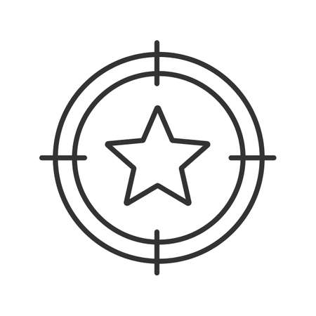 Aim on star linear icon. Bookmark searching thin line illustration. Add to favorites. Contour symbol. Vector isolated outline drawing Illustration