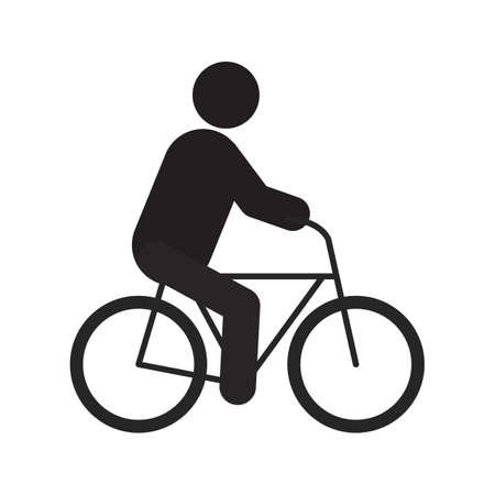 Man riding bike silhouette icon. Sport. Isolated vector illustration. Cyclist. Eco transport