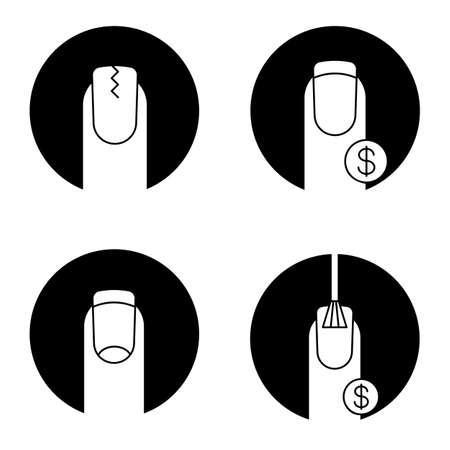Set di icone del glifo manicure. Unghia incrinata, french manicure, prezzi dei servizi di unghie. Vector le illustrazioni bianche delle siluette nei cerchi neri Archivio Fotografico - 87707872