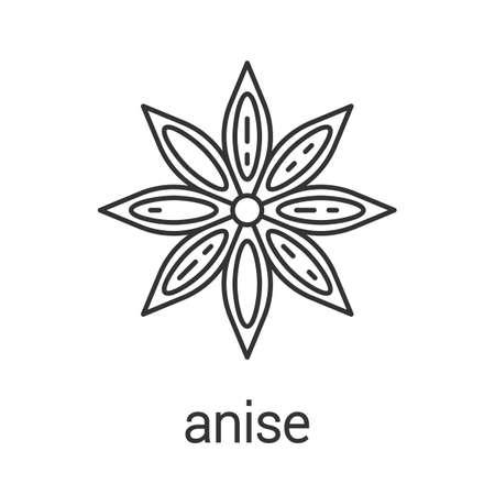 Anise linear icon. Thin line illustration. Flavoring, seasoning. Contour symbol. Vector isolated outline drawing Illustration