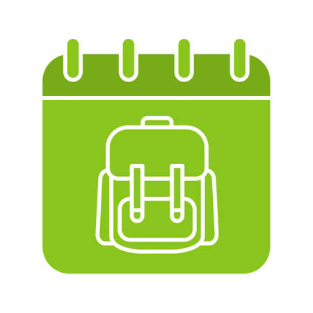 September 1st glyph color icon. Calendar page with students backpack. Silhouette symbol on white background. Negative space. Vector illustration