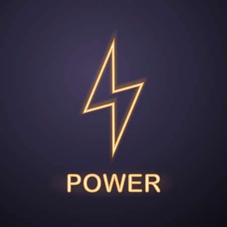 Power neon light icon. Lightning bolt. Glowing sign. Vector isolated illustration