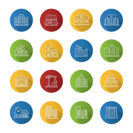 City buildings flat linear long shadow icons set. Town architecture. Vector outline illustration