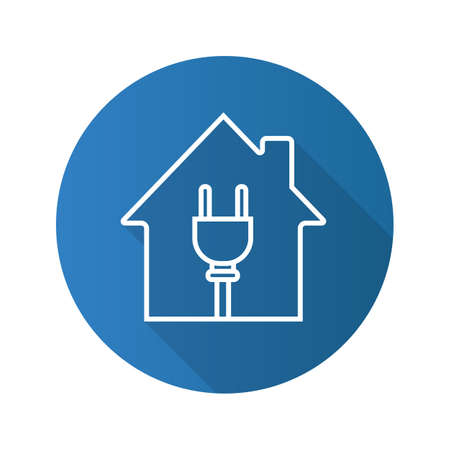 House with wire plug. Flat linear long shadow icon. Home electrification. Vector outline symbol Illustration